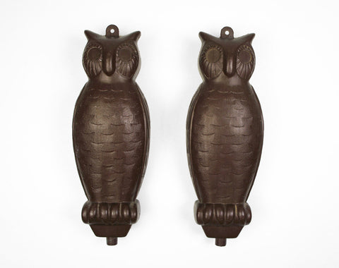 1950's Plastic Owl Decoys - Set of Two