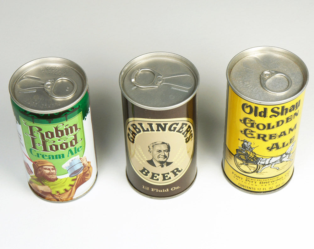 1970's Beer Cans - Set of Three. Bottom's Up!