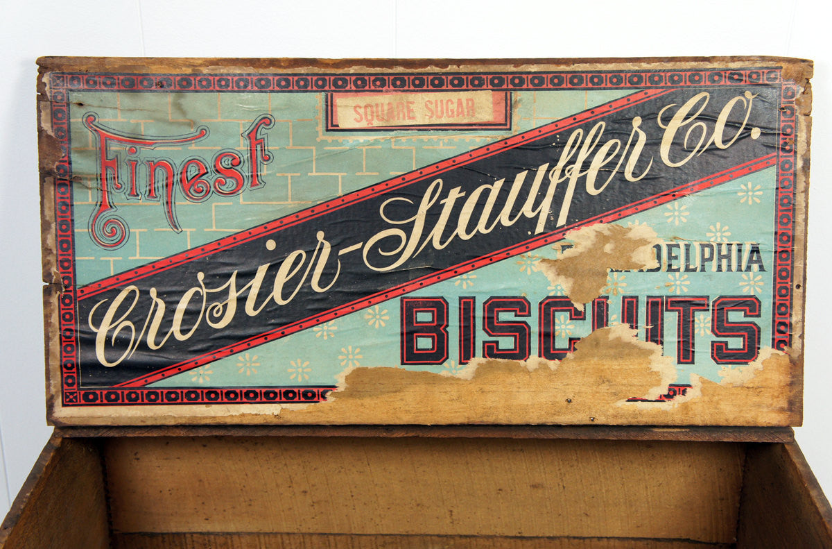 Late 1800's Crosier-Stauffer Biscuit Box - Philadelphia, PA