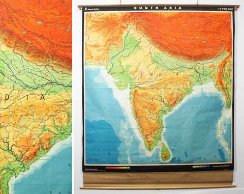1950's India & South Asia Pull Down Classroom Map