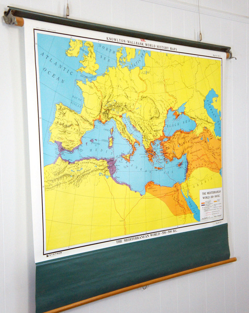 1980's Mediterranean World Pull Down Classroom Map