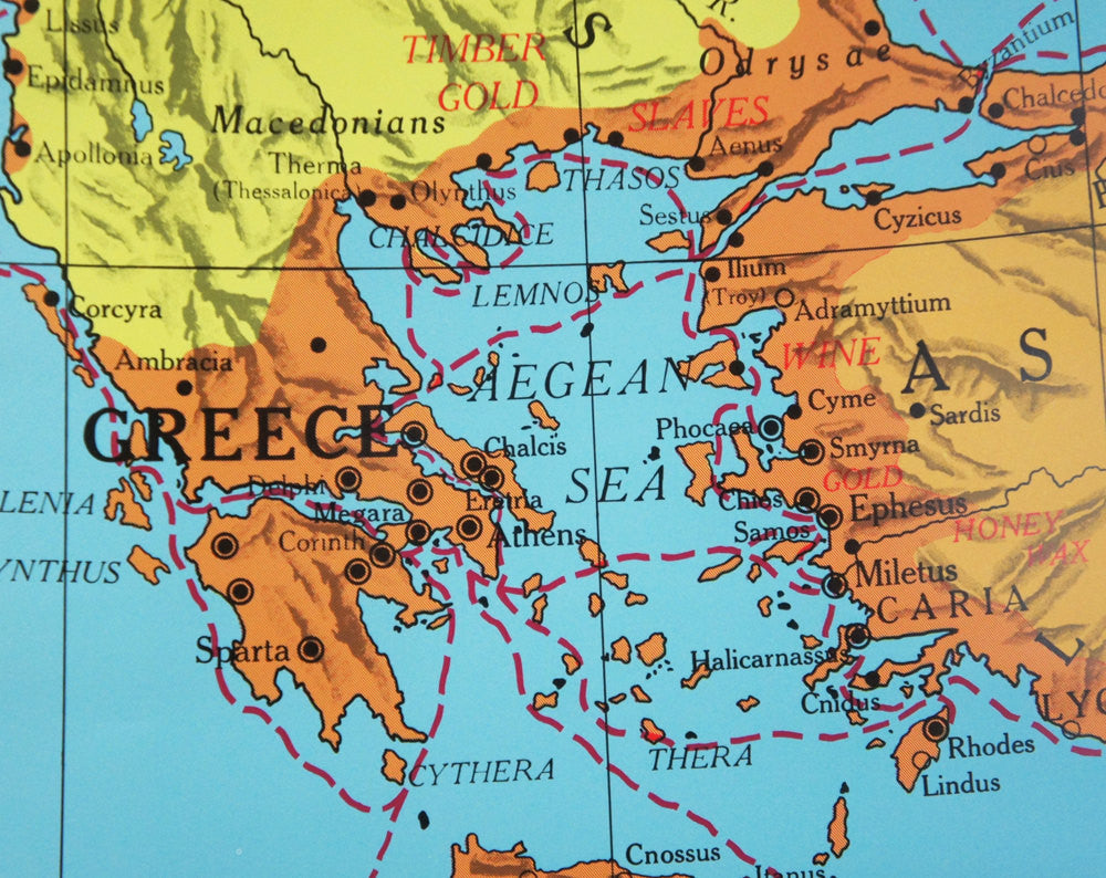 Ancient History Pull Down Classroom Map - The Mediterranean World