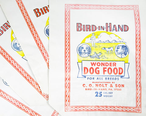 1940's Bird-In-Hand Wonder Dog Food Bag - 25 lbs