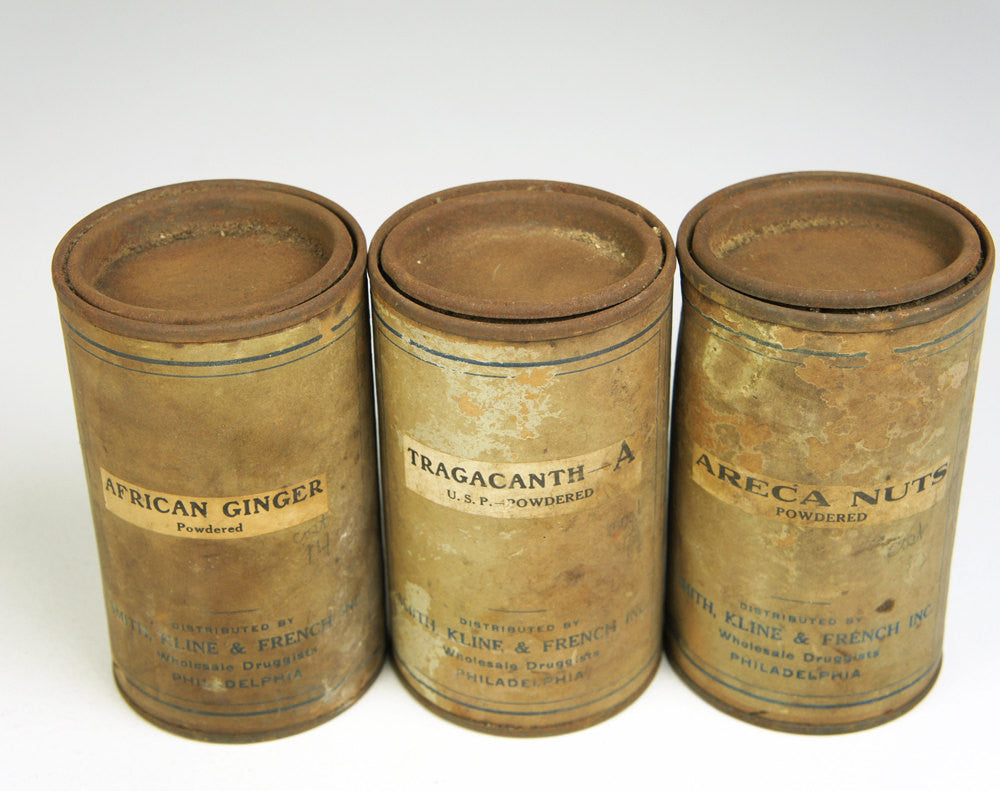 Early 1900's Crude Medicine Canisters - Set of Three