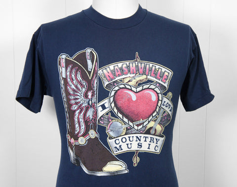 1980's Nashville T-Shirt - I Love Country Music, Size M