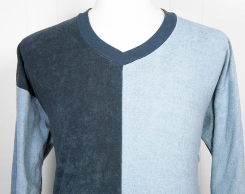 1970's Blue Color Block V-Neck Sweater - Size L