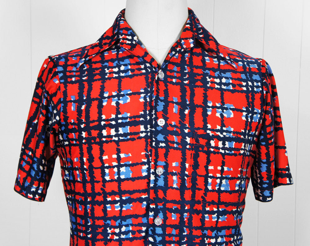 1970's Red, White & Blue Disco Shirt - Size M