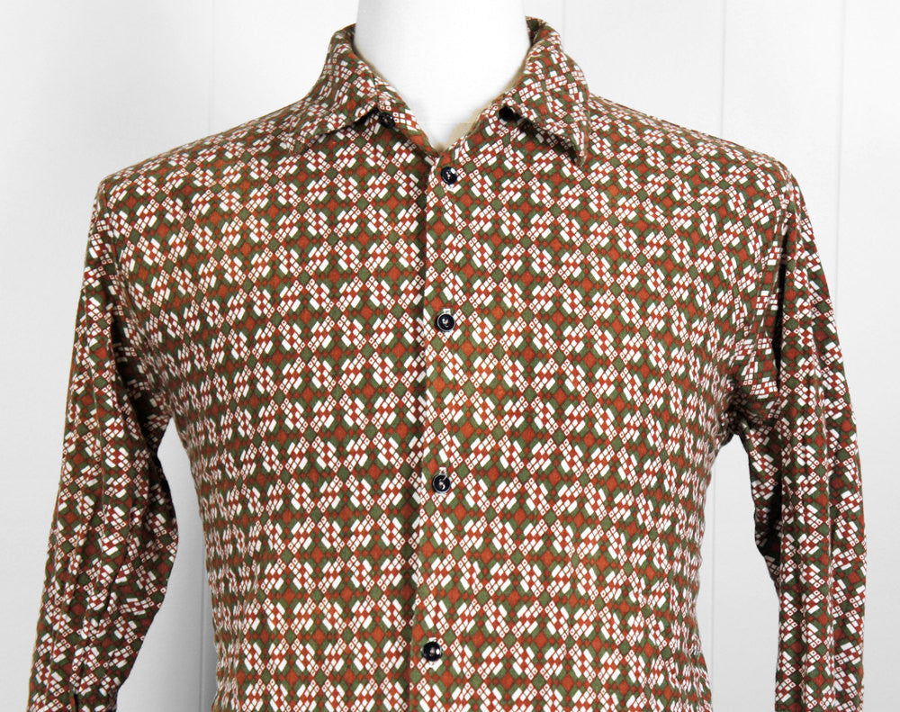 1980's Brown Abstract Button Up Shirt - Size M