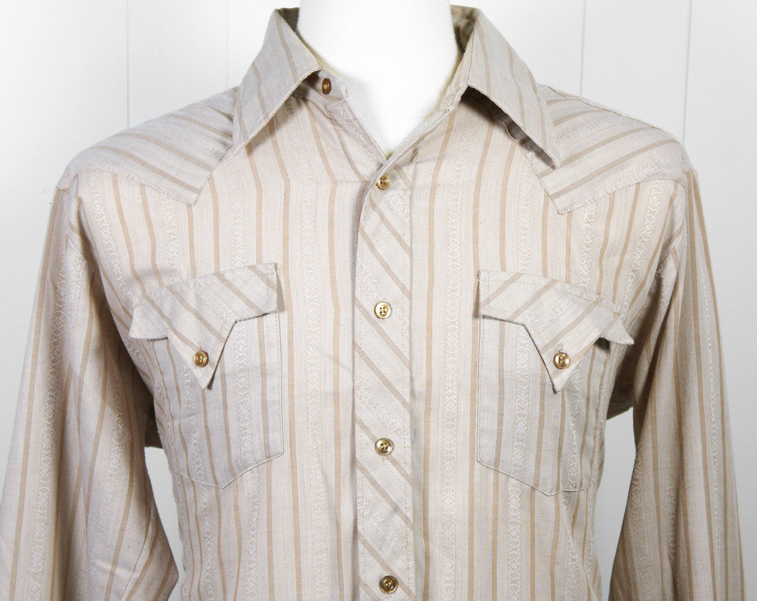 1970's Brown Striped Button Up Western Shirt - Size L