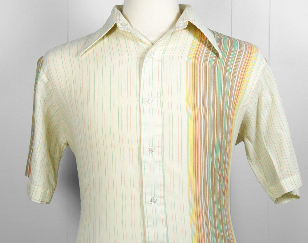 1970's Sherbert Striped Button Up Shirt - Size L
