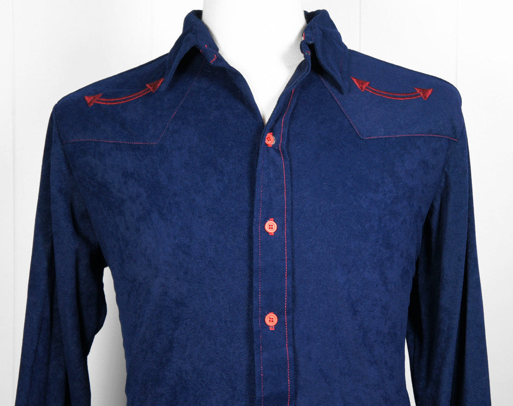 1970's Blue & Red Button Up Arnel Western Shirt  - Size L