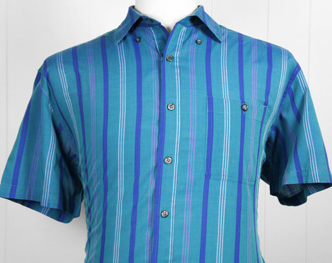 1980's Blue & Teal Striped Button Up Shirt - Size L