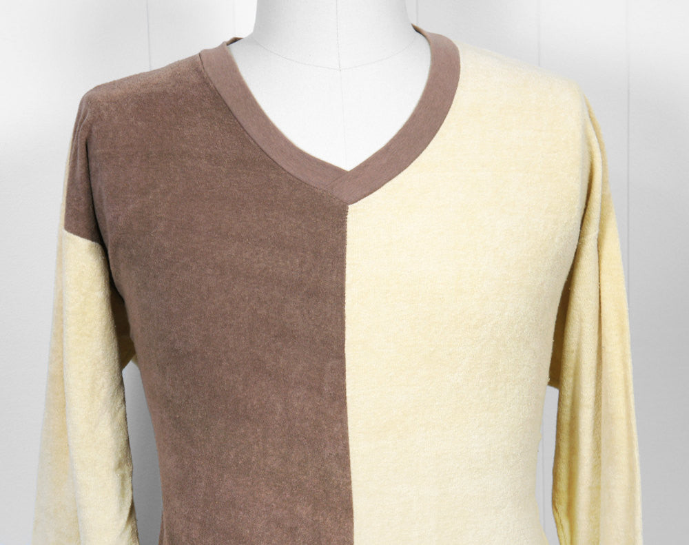 1970's Brown Color Block V-Neck Sweater - Size L