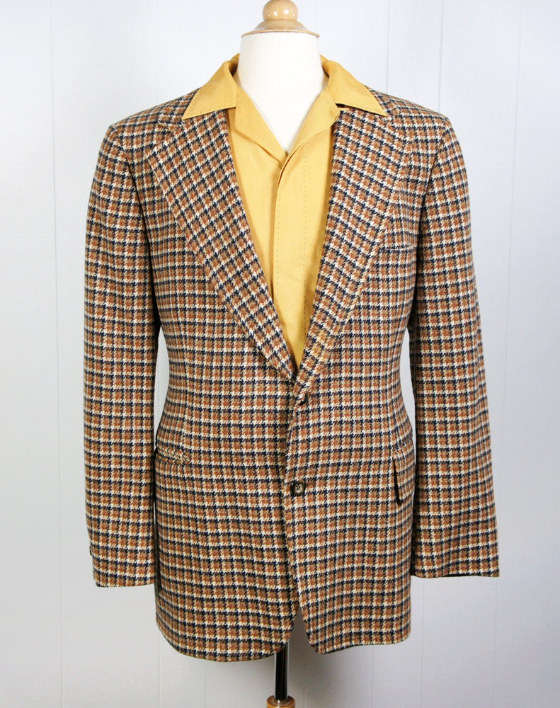 1970's Brown & Navy Blue Houndstooth Blazer, Size L