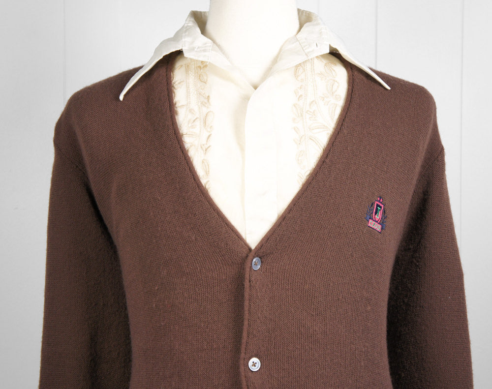 1970's Brown IZOD Cardigan Sweater, Size M