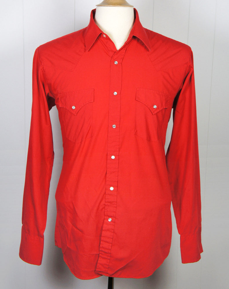 Men's Red Western Pearl Snap Shirt - Size L