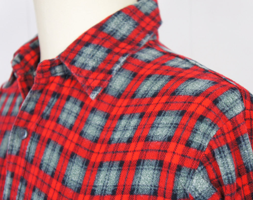 1980's Red & Gray Striped Flannel Shirt - Size L