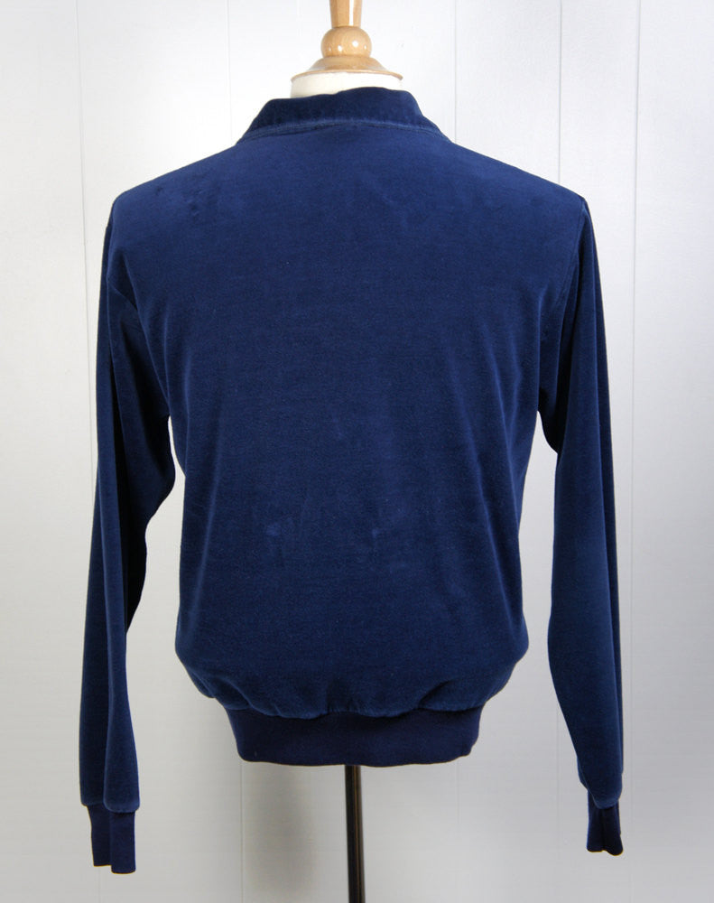 1970's Blue Velour Shirt - Long Sleeve, Size M