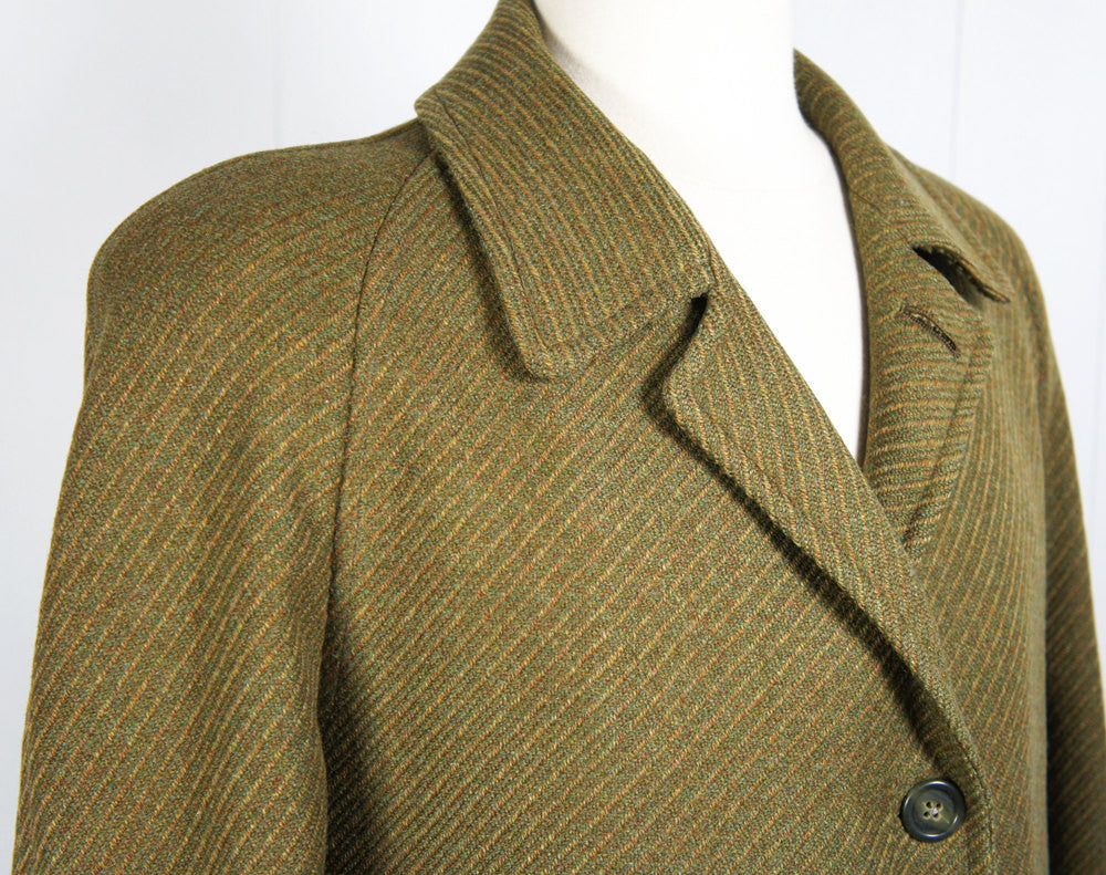 1950's Olive Green Wool Trench Coat - Size L