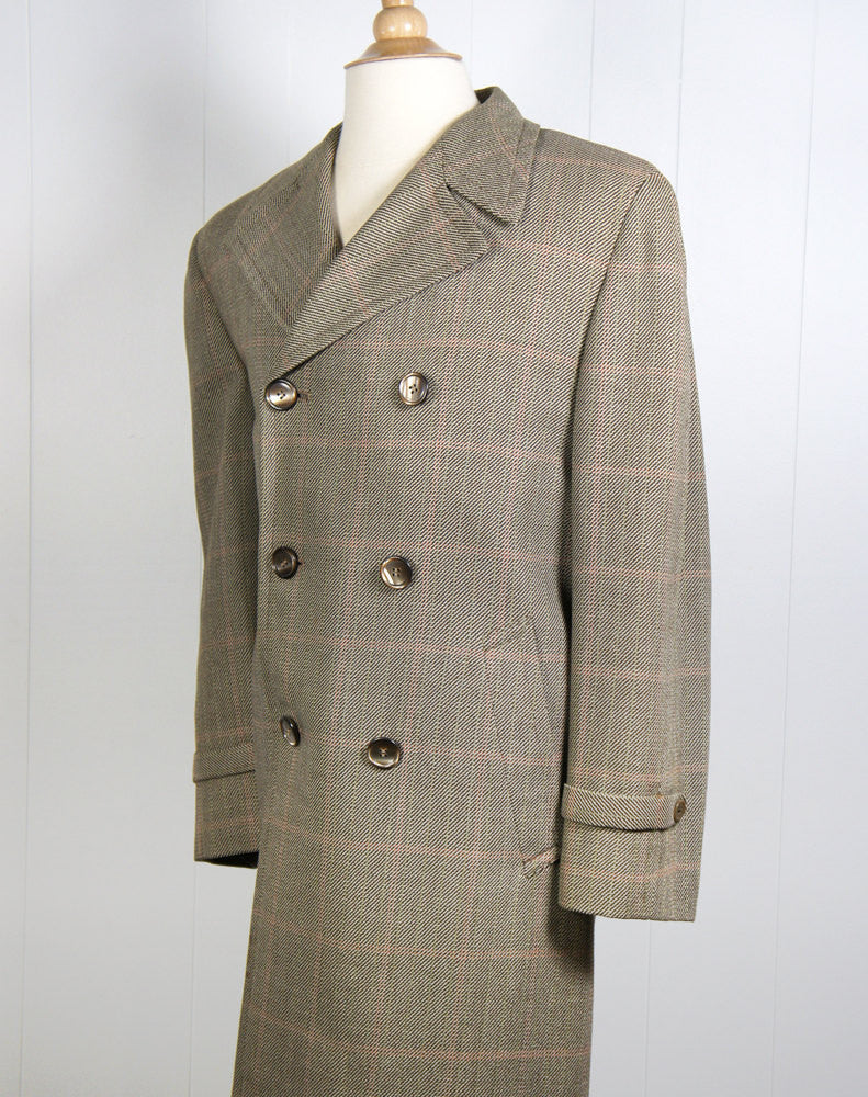 1970's Brown, Beige & Red Tweed Trench Coat - Size L