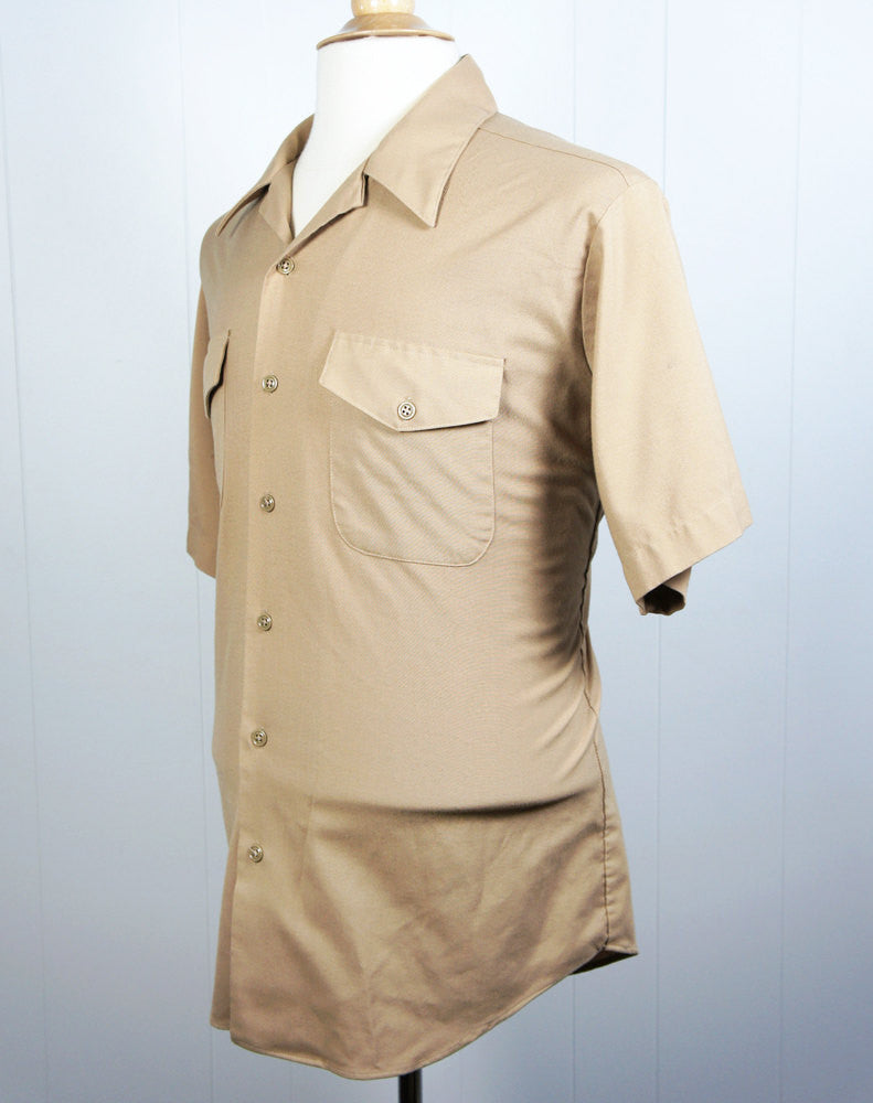 1960's Tan Button Up Work Shirt - Short Sleeve, Size L