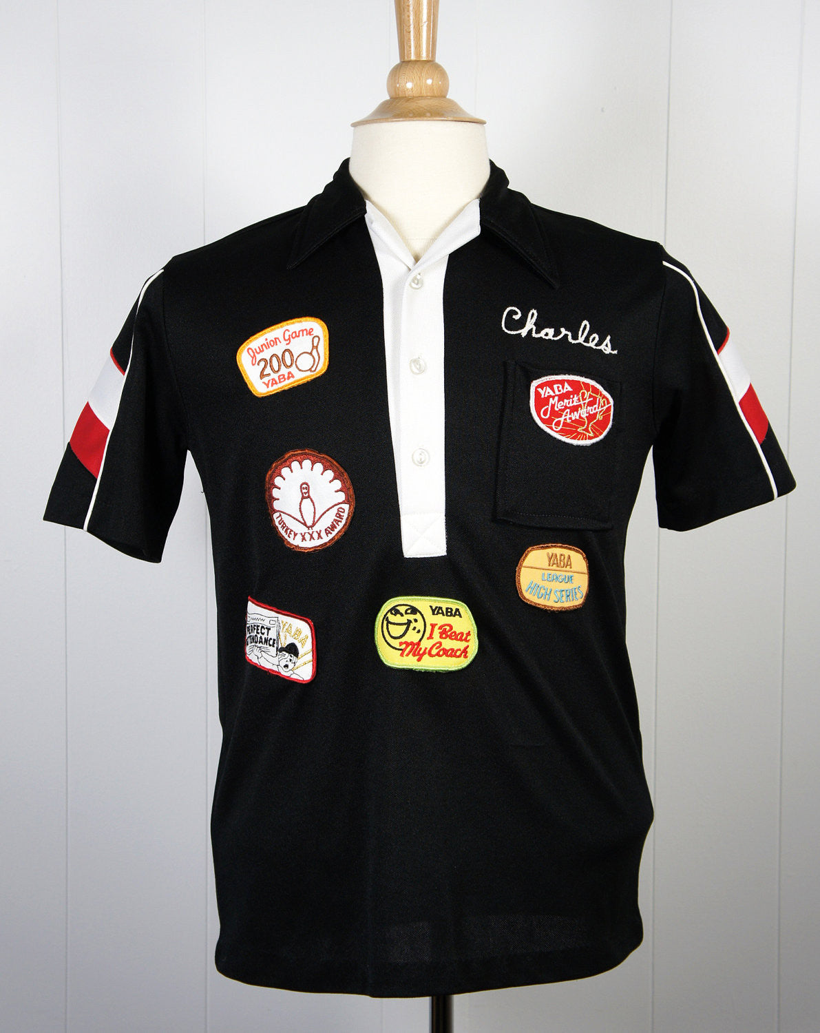1980's Bowling Shirt w/ Patches - Charles, Size S