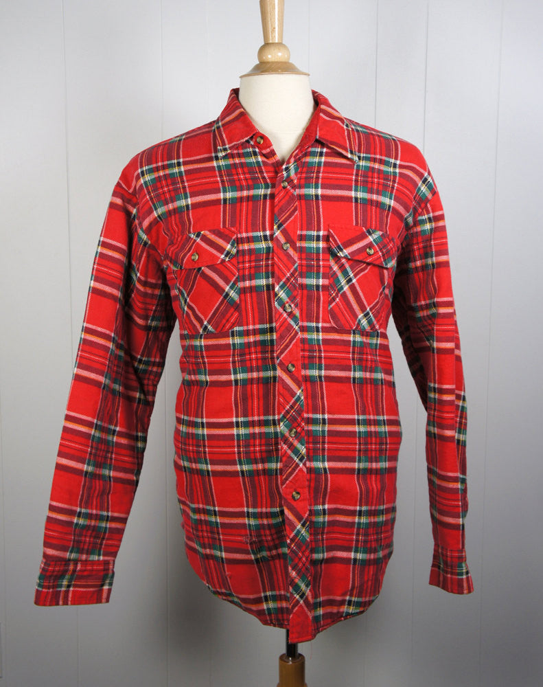 Red, Green, Black & White Striped Flannel Shirt Jacket -  Size XL