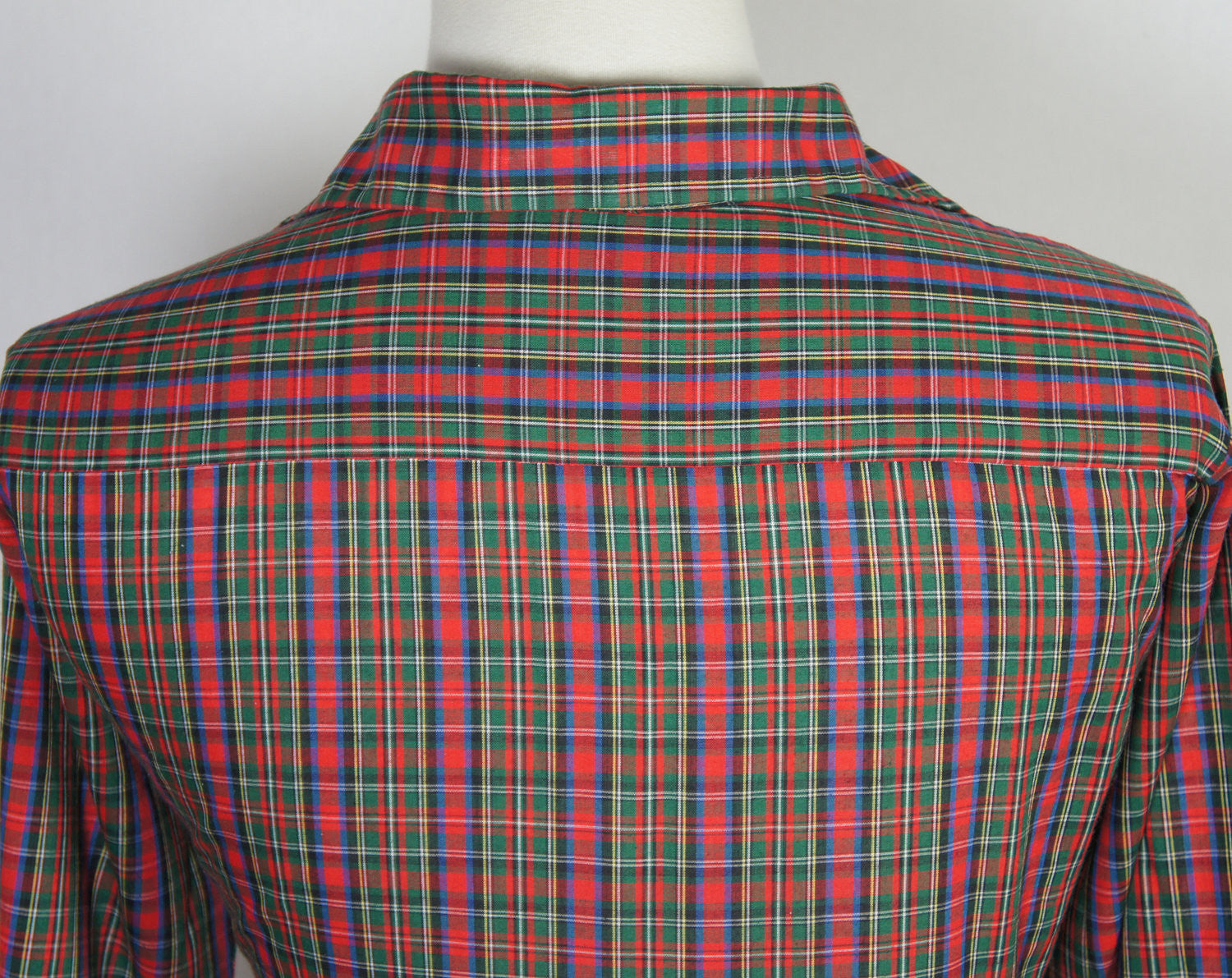 1970's Red & Green Button Up Shirt - Long Sleeve, Size L