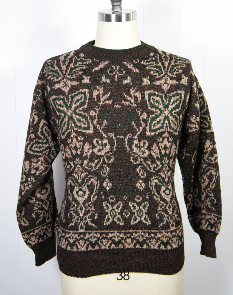 1960's Brown & Forest Green Knit Wool Sweater, Size M