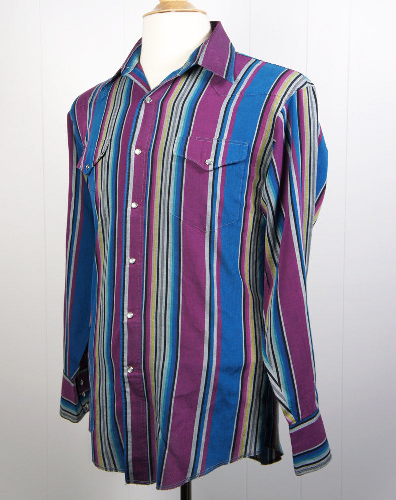 Multicolor Wrangler Western Pearl Snap Shirt - Size M
