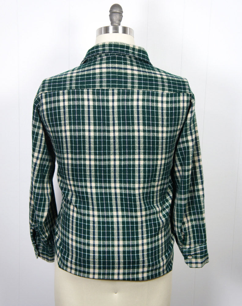 1970's Forest Green Striped Plaid Flannel Shirt - Size XL