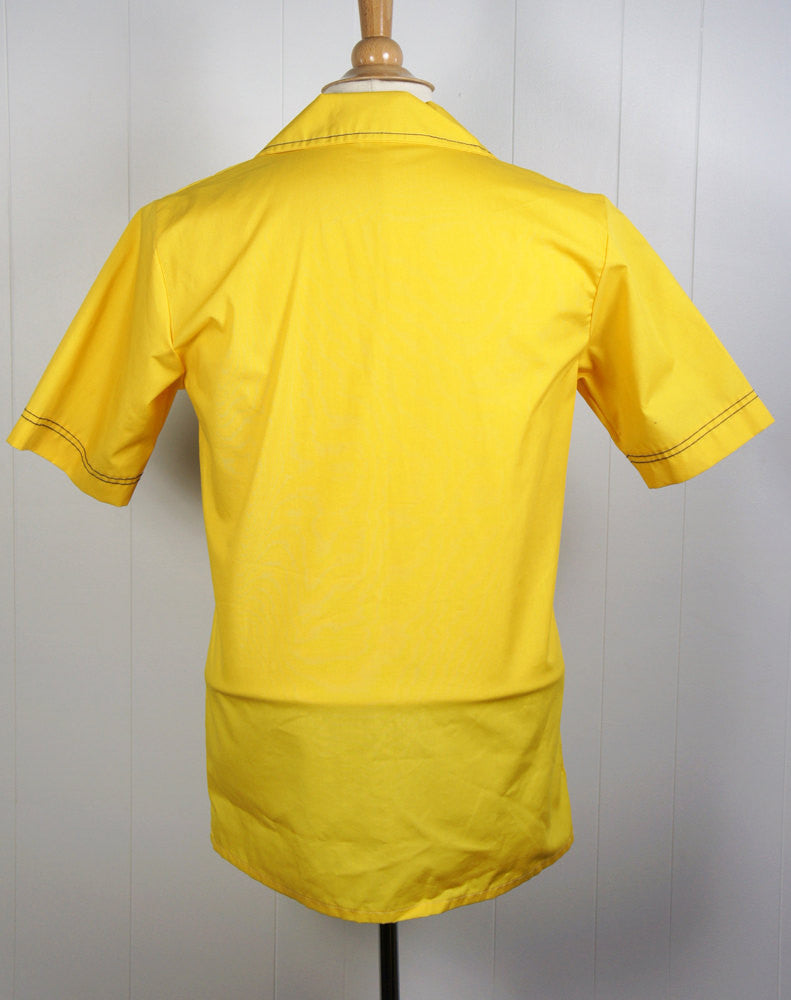 1970's Yellow Lounge Shirt - Short Sleeve, Size M