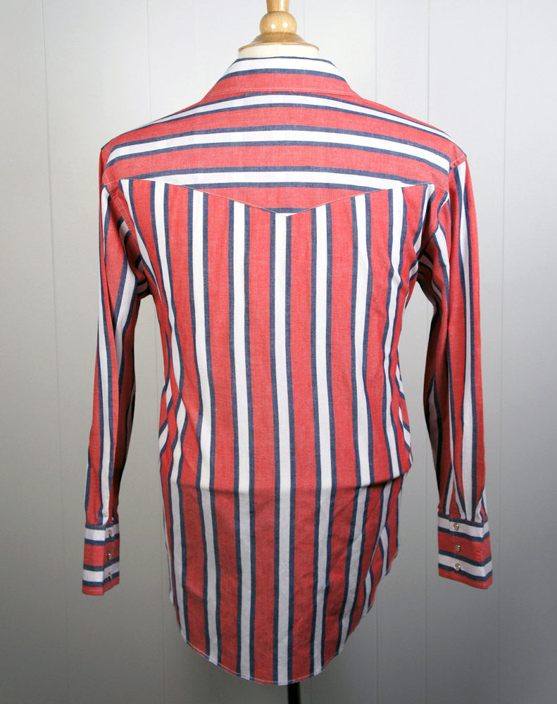 Red, White & Blue Western Pearl Snap Shirt - Size L