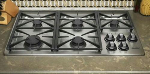 "Dacor Renaissance 36"" Smart Flame Stainless Natural Gas Cooktop RGC365SNG - Alabama Appliance"