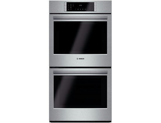 "Bosch 800 Series 27"" Double Electric Wall Oven HBN8651UC Good Front"