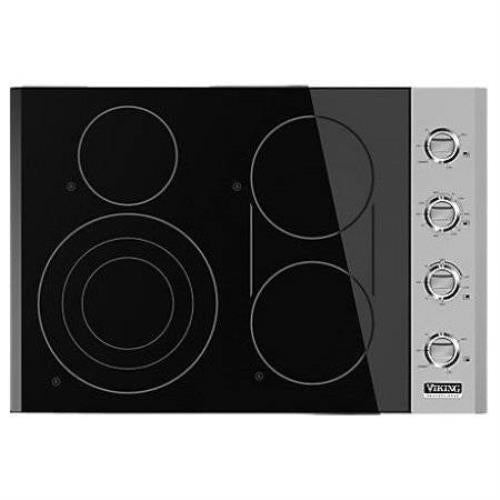 "Viking Professional Serie 30"" 4 QuickCook Smoothtop Electric Cooktop VEC5304BSB - Alabama Appliance"