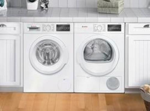 Bosch 300 Series Front Load White Washer & Dryer set  WAT28400UC / WTG86400UC