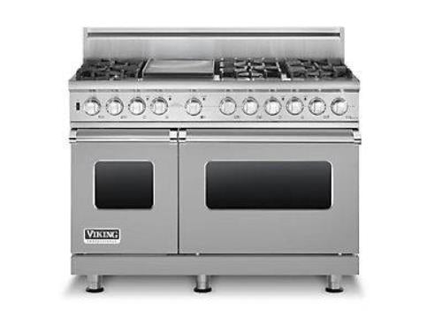 Viking Professional 48 in Pro-Style 6 Sealed Burners Dual-Fuel Range VDSC5486GSS - Alabama Appliance