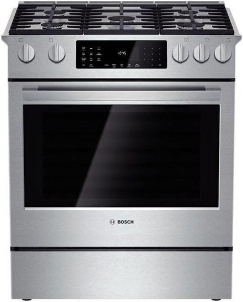 "Bosch Benchmark 30"" 5 Burners Stainless Slide-in Dual-Fuel Range HDIP054U - Alabama Appliance"