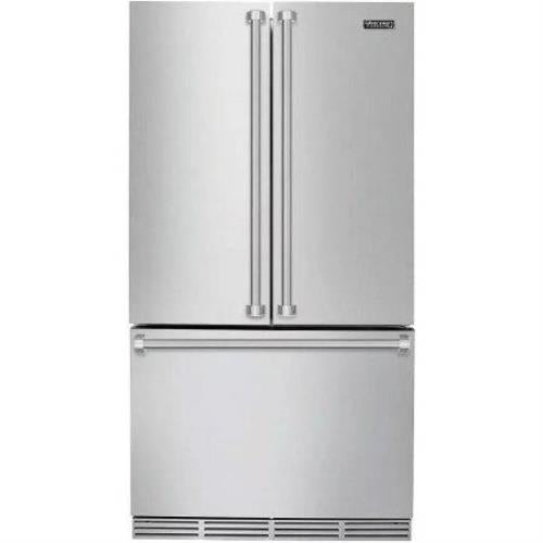 "Viking 3 Serie 36"" Counter Depth French Door Refrigerator Theater LED RVRF3361SS - Alabama Appliance"