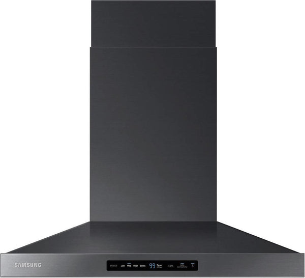 "SAMSUNG 30"" 600 CFM 4 Wall Mount Chimney Black Stainless Range Hood NK30K7000WG"