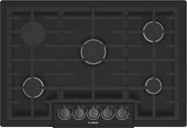 "Bosch 800 Series 30"" Optisim 5 Burner Red LED Indicator Gas Cooktop NGM8046UC - Alabama Appliance"