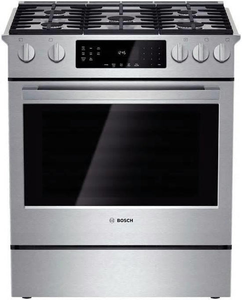 "Bosch 800 Series 30"" 5 Sealed Burners Slide-In Gas Range HGI8054UC Stainless S."