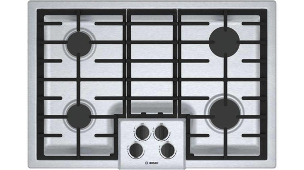 "Bosch 500 Series 30"" 4 Sealed Burners LED Indicator Gas SS Cooktop NGM5056UC - Alabama Appliance"