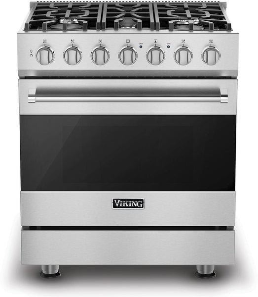 "Viking 3 Series 30"" 5 Sealed Burners Freestanding Gas Range RVGR33025BSS S.S - Alabama Appliance"
