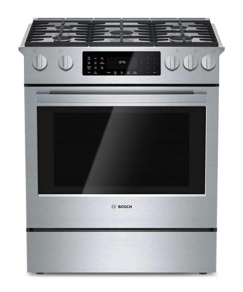 "NIB Bosch 800 Series 30"" 4.6 LP Duel Fuel Convection Stainless Range HDI8054U - Alabama Appliance"