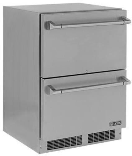 Lynx LM24DWR 24 Inches Two Door Outdoor Refrigerator with Blue LED Lighting - Alabama Appliance