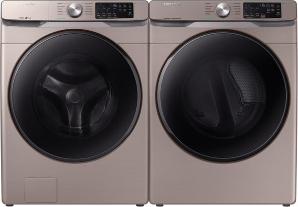 "Samsung 27"" Electric Champagne dryer DVE45R6100C Steam washer WF45R6100AC Combo - Alabama Appliance"