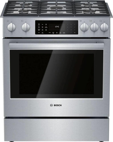"Bosch 800 Series 30"" Slide-In Dual Fuel Convection Range HDI8056U Perfect - Alabama Appliance"