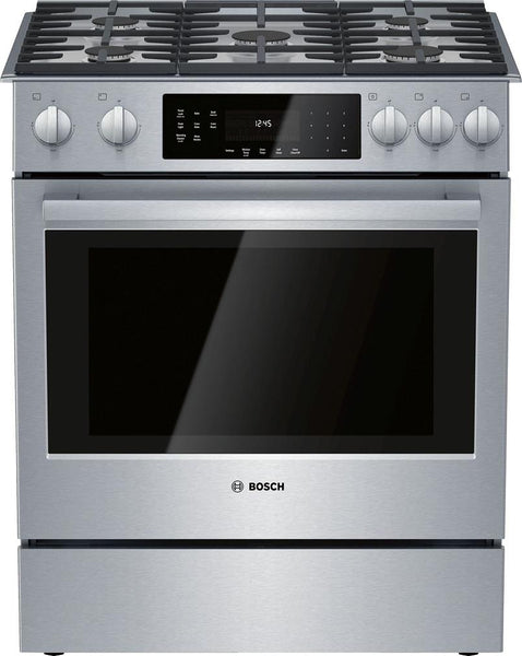 "Bosch 800 Series 30"" 9 Mode 5 Sealed Burners SS Slide-In Gas Range HGI8056UC"